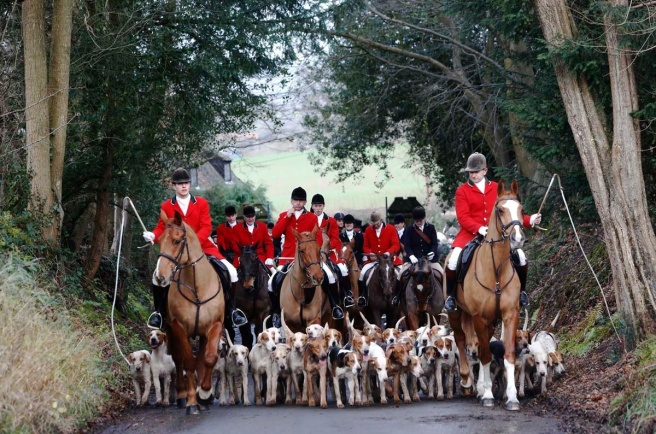 Members of the Old Surrey Burstow and West Kent Hunt depart from Chiddingstone Castle for the annual Boxing Day hunt in south east England